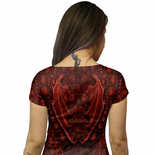 Close-up on wings on Red Dragon Tunic Dress