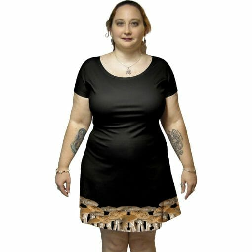 Pictured model is wearing a large. They are 5 ft 3 in. Their other measurements are not available at this time.